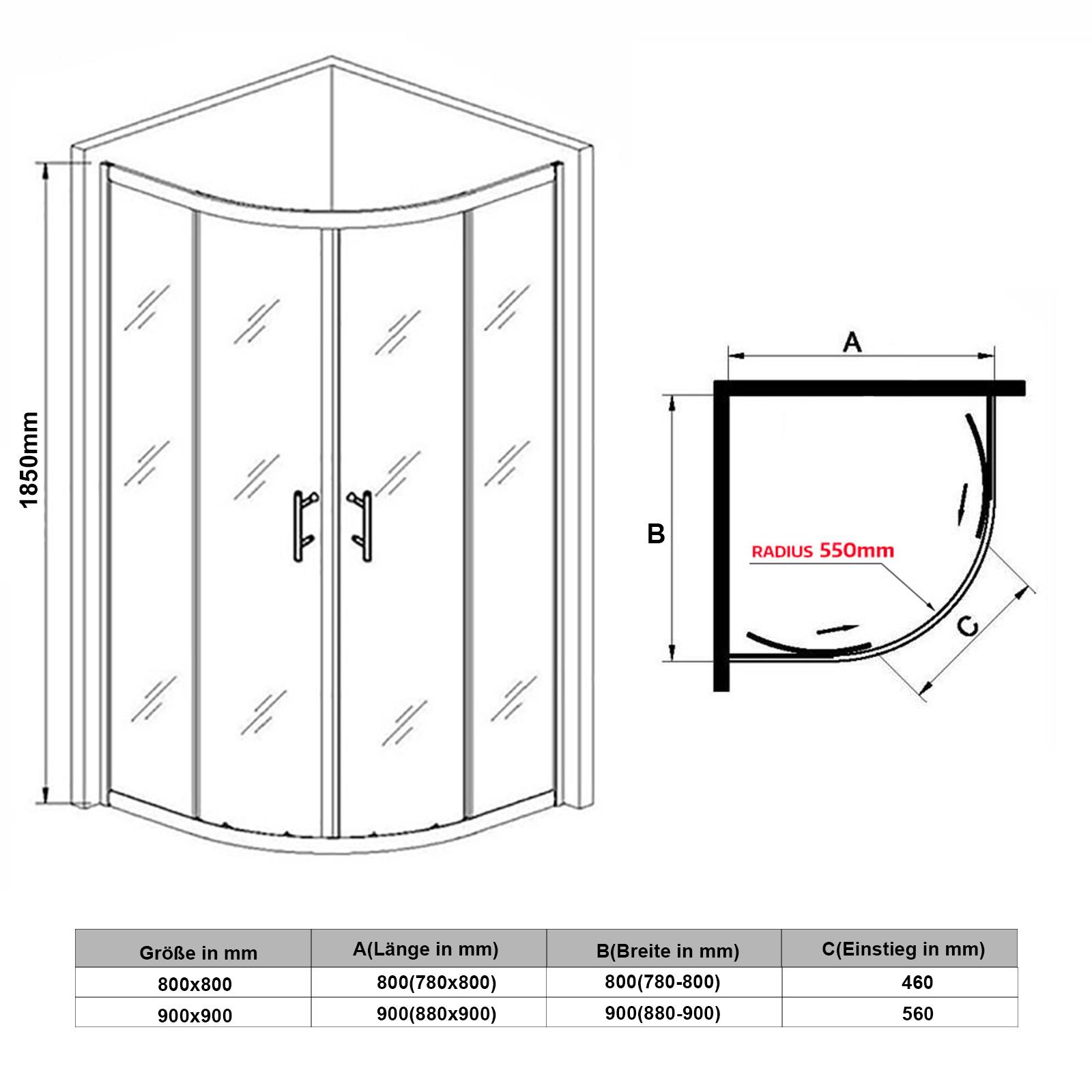 nano 80x80 90x90cm duschkabine viertelkreis runddusche doppel duscht r echtglas ebay. Black Bedroom Furniture Sets. Home Design Ideas