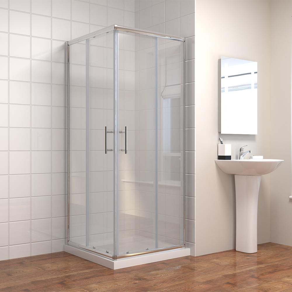 duschkabine eckeinstieg duschabtrennung duscht r doppel schwingt r echtglas ebay. Black Bedroom Furniture Sets. Home Design Ideas