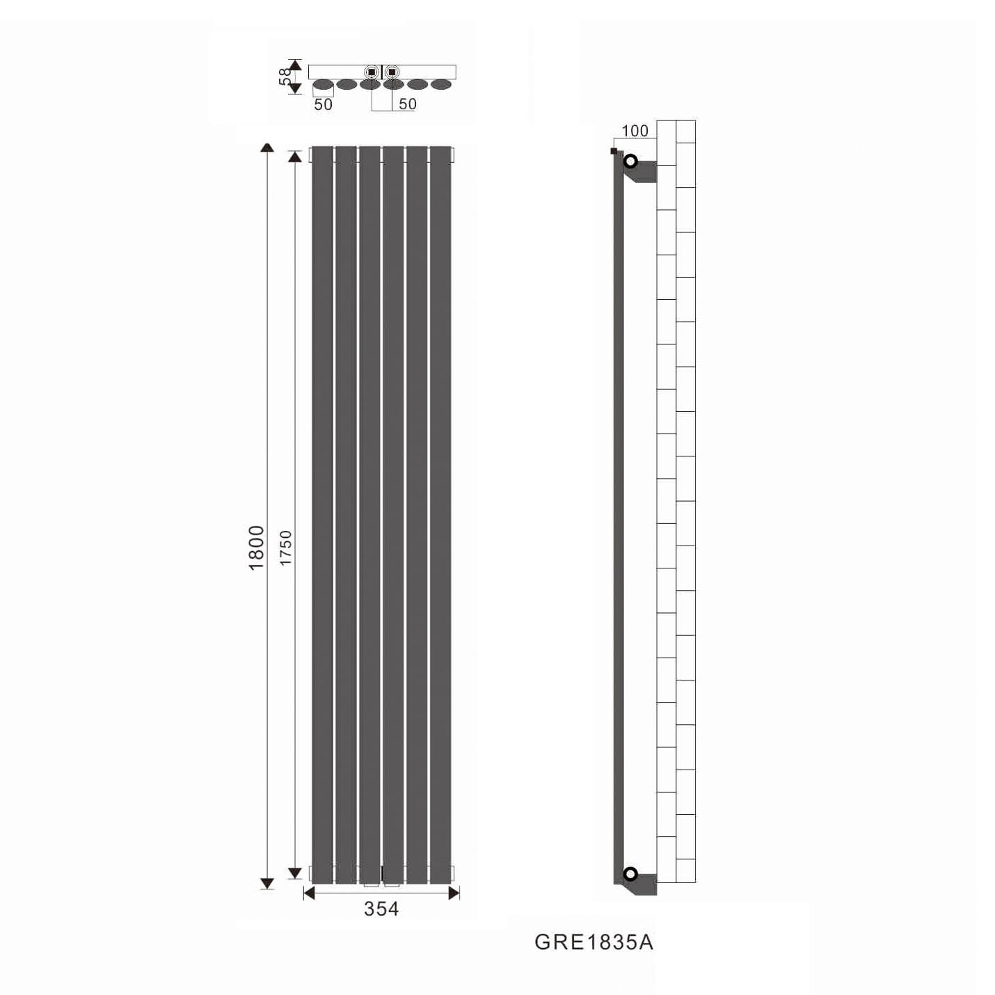 1800x354mm r hrenheizk rper heizk rper mittelanschlu badheizk rper heizwand ebay. Black Bedroom Furniture Sets. Home Design Ideas