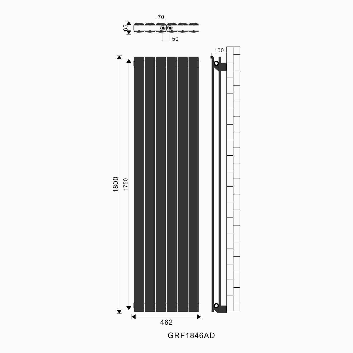 1800x462mm flachheizk rper badheizk rper vertikal heizung. Black Bedroom Furniture Sets. Home Design Ideas