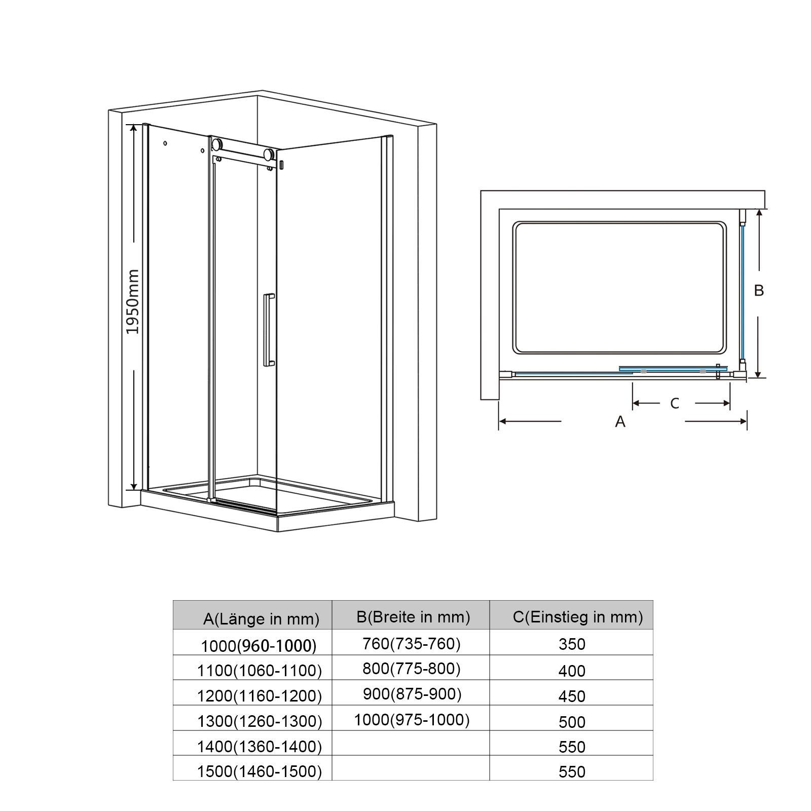 duschkabine schiebet r duschabtrennung 8mm nano glas. Black Bedroom Furniture Sets. Home Design Ideas