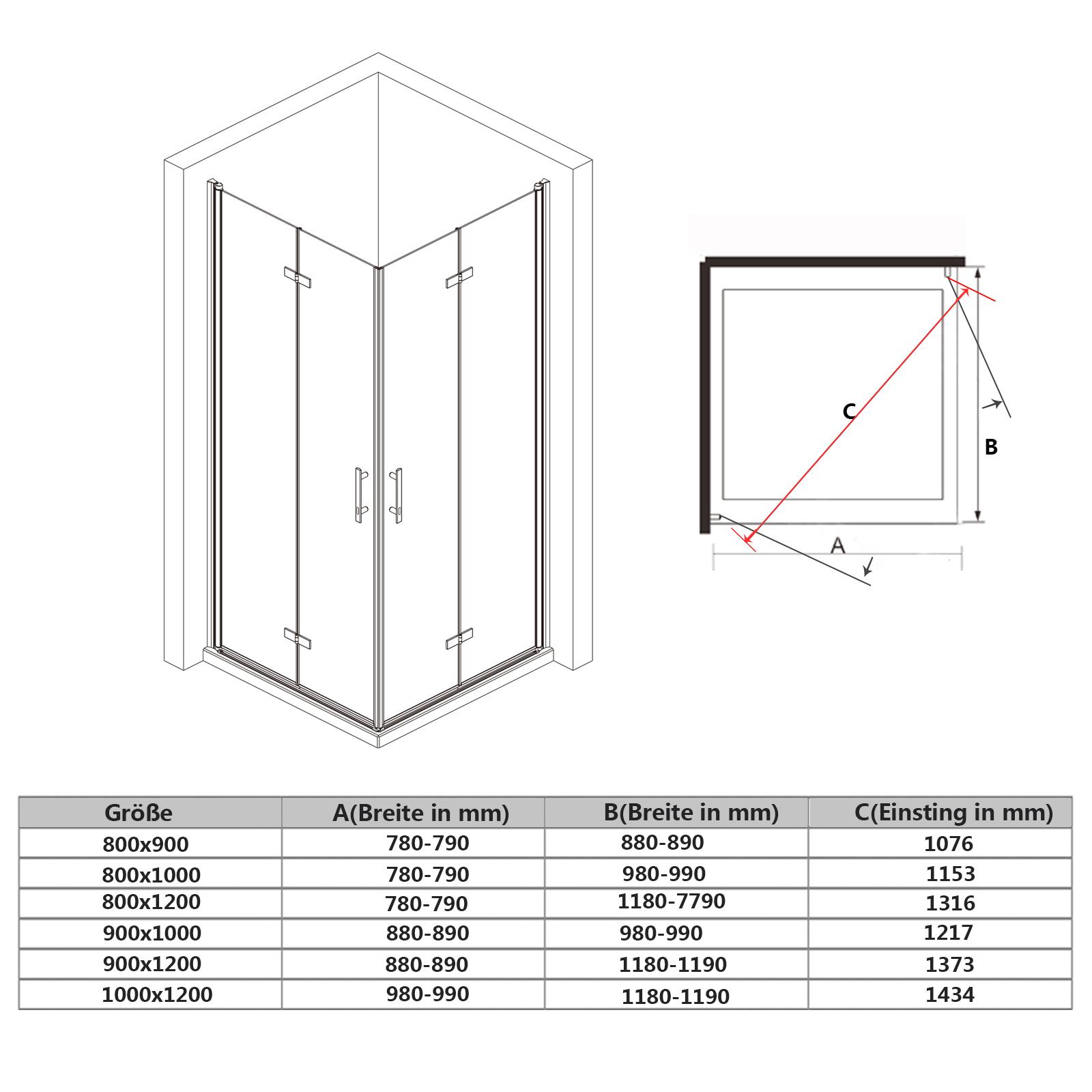 Dusche Eckeinstieg Montageanleitung : Stangengriff aus Edelstahl Einscheiben-Sicherheitsglas (ESG) 6mm Mit