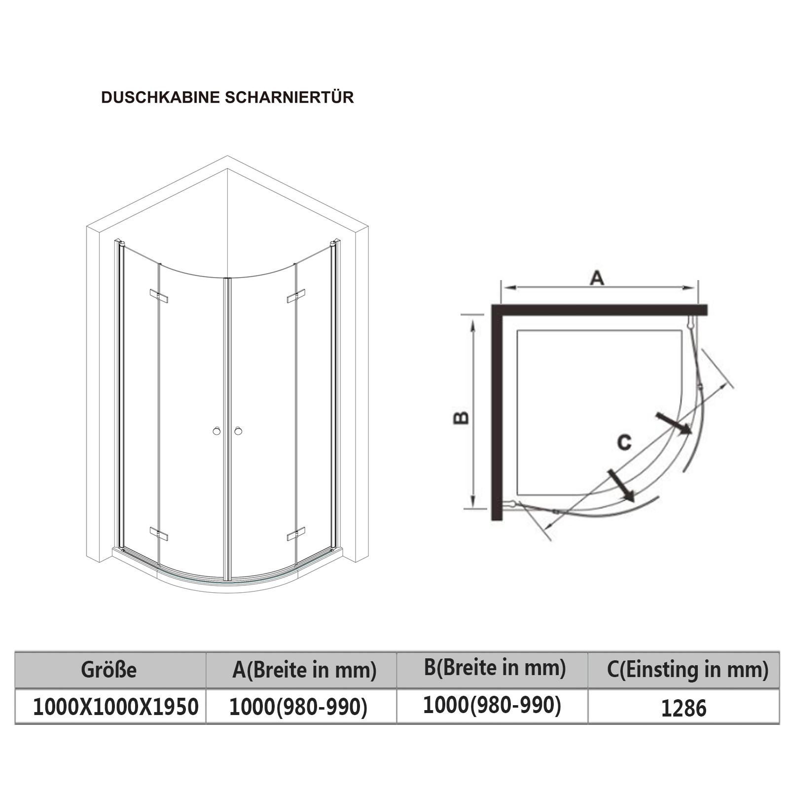 duschkabine runddusche 100x100 duschabtrennung viertelkreis faltt r duschwanne ebay. Black Bedroom Furniture Sets. Home Design Ideas