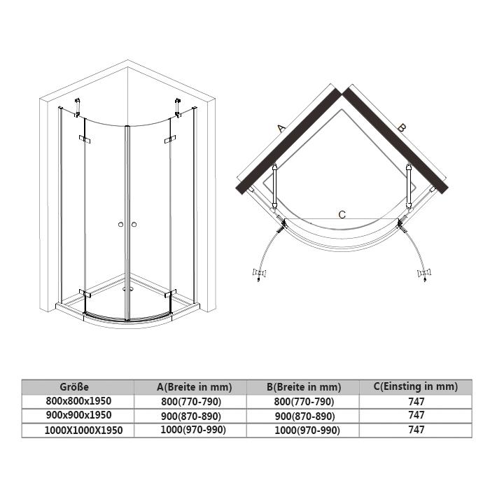 Dusche Eckeinstieg Montageanleitung : Radius 550mm Stangengriff aus Edelstahl Haltestange aus hochwertiger