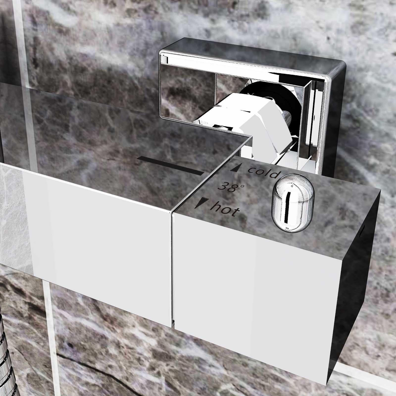 Nischent?r Dusche Verstellbar : Duschset Chrom Quadratisch Duschsystem Duscharmatur ?berkopfbrause
