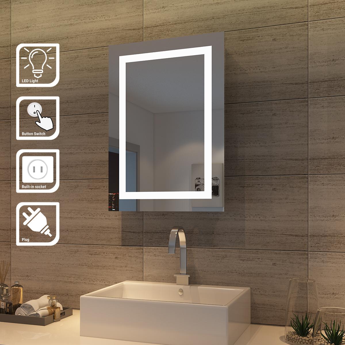 led spiegelschrank hochglanz badezimmerspiegel badschrank schiebet r beleuchtung ebay. Black Bedroom Furniture Sets. Home Design Ideas