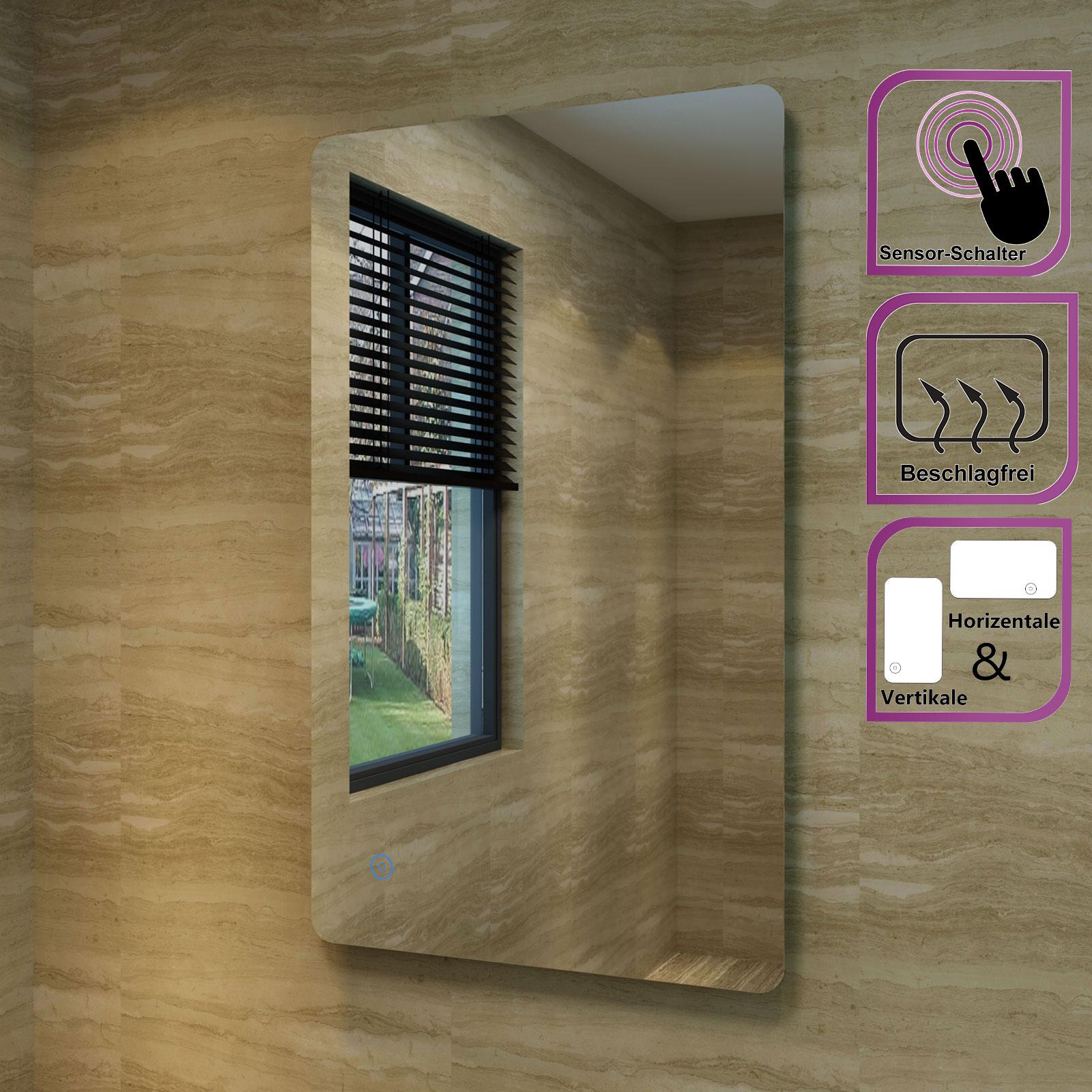 badspiegel badezimmerspiegel led beleuchtung kaltwei ip44. Black Bedroom Furniture Sets. Home Design Ideas