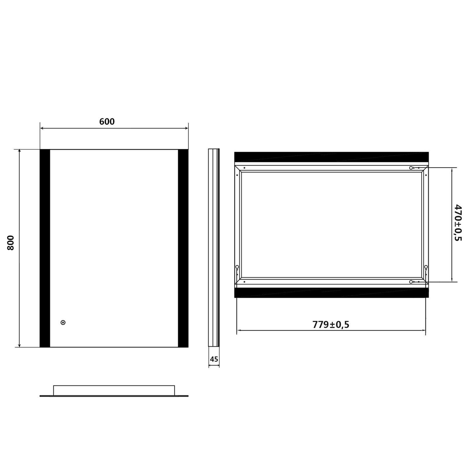 badspiegel led spiegel mit energiesparender led beleuchtung kaltwei ip44 80x60 ebay. Black Bedroom Furniture Sets. Home Design Ideas
