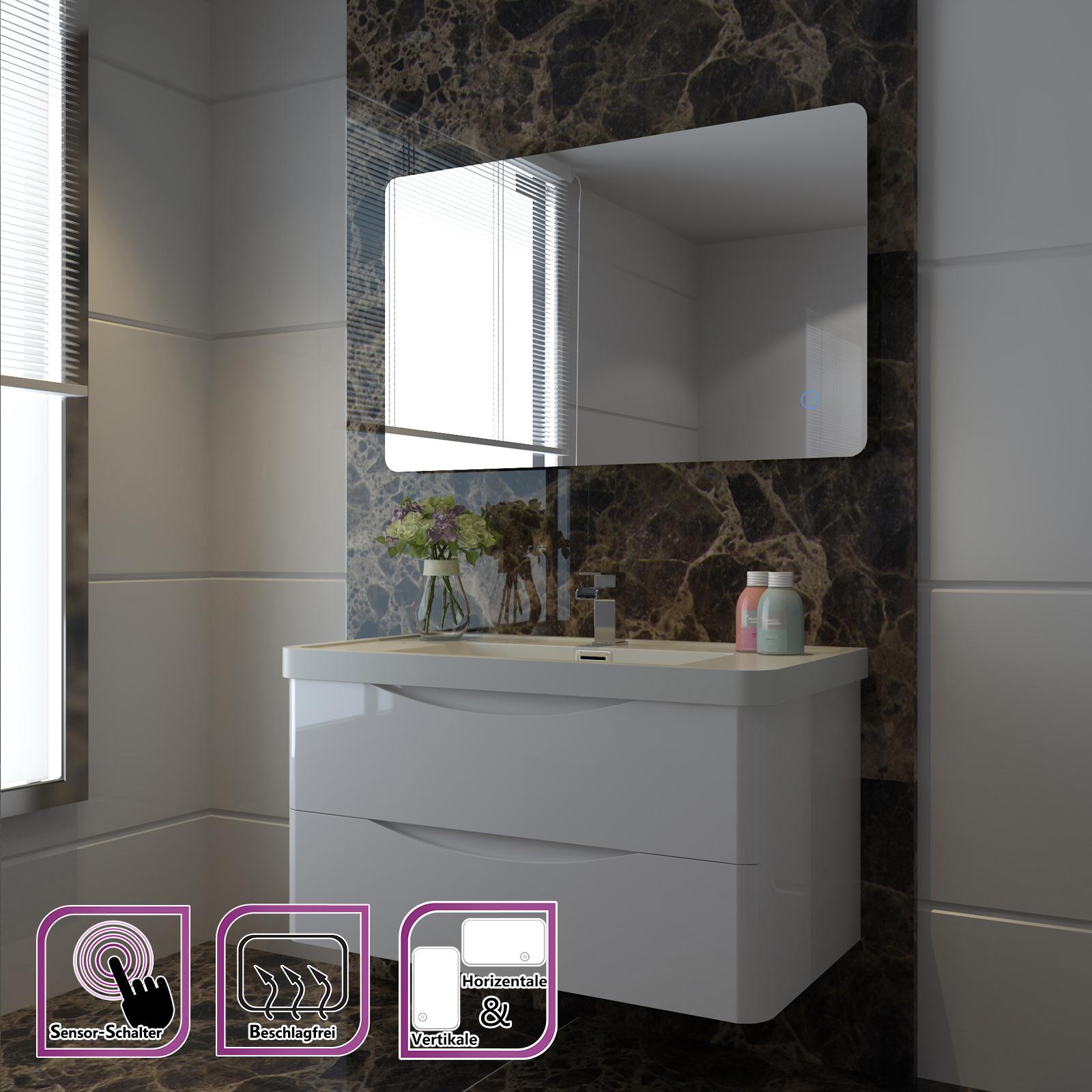 badspiegel badezimmerspiegel led beleuchtung spiegel wandspiegel warmwei ip44 ebay. Black Bedroom Furniture Sets. Home Design Ideas