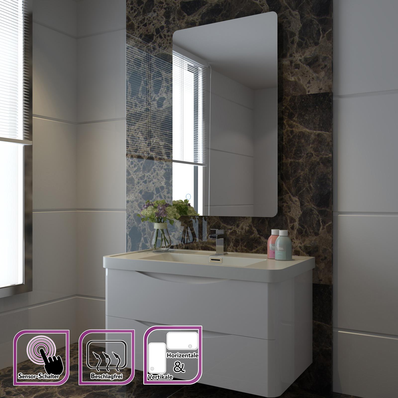 badspiegel badezimmerspiegel led beleuchtung warmwei ip44 sensor touch schalter ebay. Black Bedroom Furniture Sets. Home Design Ideas